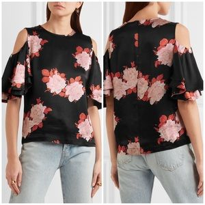 NWT Ganni Satin Floral Cold Shoulder Top